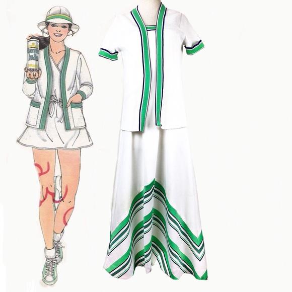 Vintage Dresses & Skirts - Vintage 70s White & Green Dress & Jacket Set
